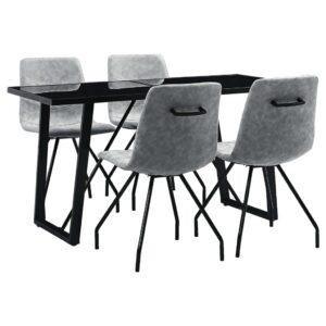 5 pcs conjunto de jantar couro artificial cinzento-escuro - PORTES GRÁTIS