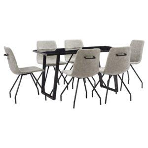 7 pcs conjunto de jantar couro artificial cinzento - PORTES GRÁTIS