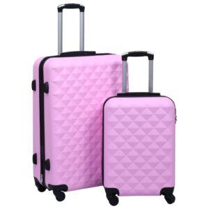 Conjunto de malas de viagem estojo rígido 2 pcs ABS rosa - PORTES GRÁTIS