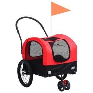 Reboque bicicletas/carrinho para animais 2-em-1 vermelho/preto - PORTES GRÁTIS