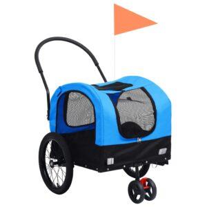 Reboque bicicletas/carrinho para animais 2-em-1 azul/preto - PORTES GRÁTIS