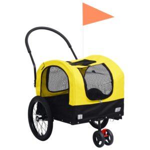 Reboque bicicletas/carrinho para animais 2-em-1 amarelo/preto - PORTES GRÁTIS