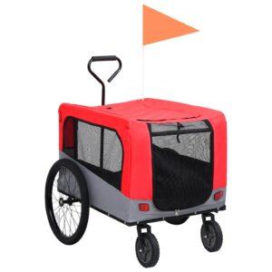 Reboque bicicletas/carrinho para animais 2-em-1 vermelho/cinza - PORTES GRÁTIS