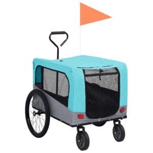 Reboque bicicletas/carrinho para animais 2-em-1 azul/cinza - PORTES GRÁTIS