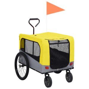 Reboque bicicletas/carrinho para animais 2-em-1 amarelo/cinza - PORTES GRÁTIS