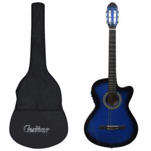 12 pcs conjunto de guitarra com equalizador e 6 cordas azul    - PORTES GRÁTIS