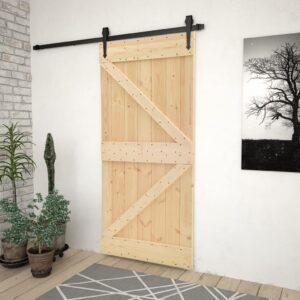 Porta 90x210 cm madeira de pinho maciça - PORTES GRÁTIS