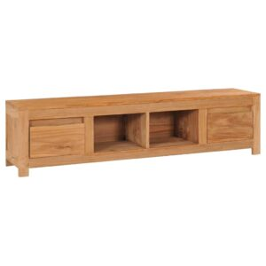 Móvel de TV 135x30x35 cm madeira de teca maciça - PORTES GRÁTIS