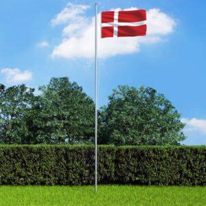 Bandeira da Dinamarca com mastro de alumínio 6,2 m - PORTES GRÁTIS