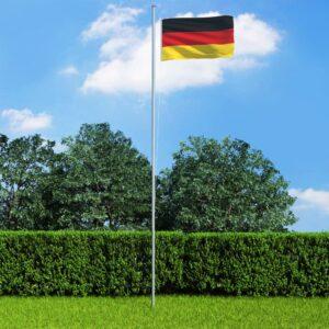 Bandeira da Alemanha com mastro de alumínio 6,2 m - PORTES GRÁTIS