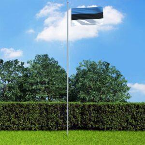 Bandeira da Estónia com mastro de alumínio 6,2 m - PORTES GRÁTIS