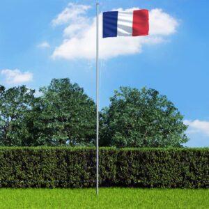 Bandeira da França com mastro de alumínio 6,2 m - PORTES GRÁTIS