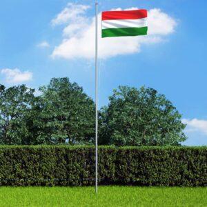 Bandeira da Hungria com mastro de alumínio 6,2 m - PORTES GRÁTIS