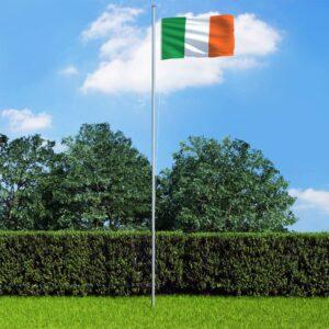 Bandeira da Irlanda com mastro de alumínio 6,2 m - PORTES GRÁTIS