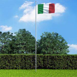 Bandeira da Itália com mastro de alumínio 6,2 m - PORTES GRÁTIS