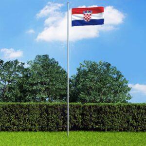 Bandeira da Croácia com mastro de alumínio 6,2 m - PORTES GRÁTIS