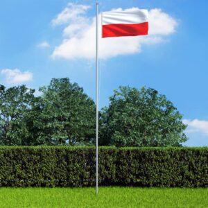 Bandeira da Polónia com mastro de alumínio 6,2 m - PORTES GRÁTIS