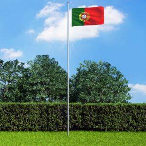 Bandeira de Portugal com mastro de alumínio 6,2 m - PORTES GRÁTIS