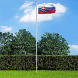 Bandeira da Eslováquia com mastro de alumínio 6,2 m - PORTES GRÁTIS