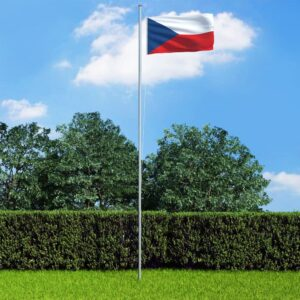 Bandeira da República Checa com mastro de alumínio 6,2 m - PORTES GRÁTIS
