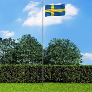 Bandeira da Suécia com mastro de alumínio 6,2 m - PORTES GRÁTIS