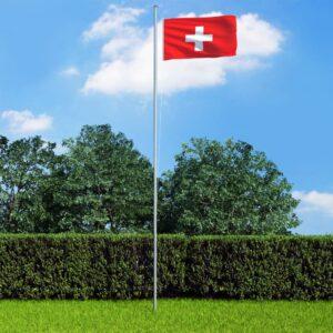 Bandeira da Suíça com mastro de alumínio 6,2 m - PORTES GRÁTIS