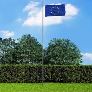 Bandeira da Europa com mastro de alumínio 6,2 m - PORTES GRÁTIS