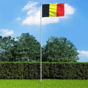 Bandeira da Bélgica com mastro de alumínio 6 m - PORTES GRÁTIS