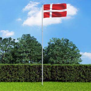 Bandeira da Dinamarca com mastro de alumínio 6 m - PORTES GRÁTIS