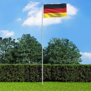 Bandeira da Alemanha com mastro de alumínio 6 m - PORTES GRÁTIS