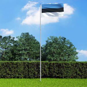 Bandeira da Estónia com mastro de alumínio 6 m - PORTES GRÁTIS