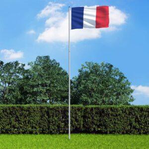 Bandeira da França com mastro de alumínio 6 m - PORTES GRÁTIS