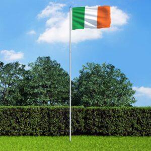 Bandeira da Irlanda com mastro de alumínio 6 m - PORTES GRÁTIS