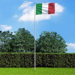Bandeira da Itália com mastro de alumínio 6 m - PORTES GRÁTIS