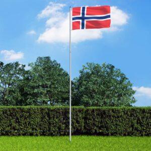 Bandeira da Noruega com mastro de alumínio 6 m - PORTES GRÁTIS