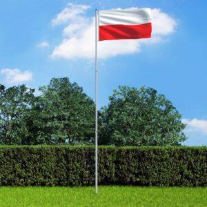 Bandeira da Polónia com mastro de alumínio 6 m - PORTES GRÁTIS
