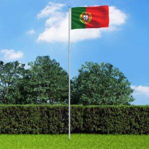 Bandeira de Portugal com mastro de alumínio 6 m - PORTES GRÁTIS