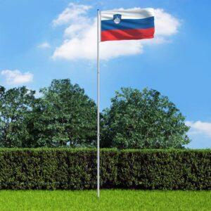 Bandeira da Eslovénia com mastro de alumínio 6 m - PORTES GRÁTIS