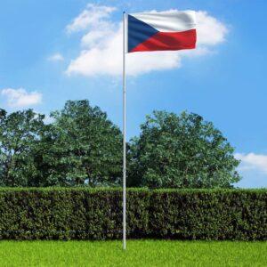 Bandeira da República Checa com mastro de alumínio 6 m - PORTES GRÁTIS