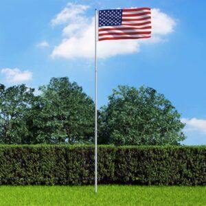 Bandeira dos EUA com mastro de alumínio 6 m - PORTES GRÁTIS