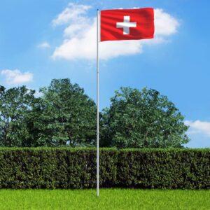 Bandeira da Suíça com mastro de alumínio 6 m - PORTES GRÁTIS