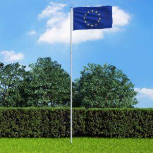 Bandeira da Europa com mastro de alumínio 6 m - PORTES GRÁTIS