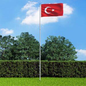 Bandeira da Turquia com mastro de alumínio 6 m - PORTES GRÁTIS