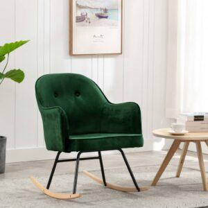 Cadeira de baloiço veludo verde-escuro - PORTES GRÁTIS