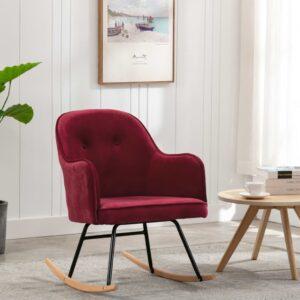 Cadeira de baloiço veludo vermelho tinto - PORTES GRÁTIS