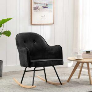 Cadeira de baloiço veludo preto - PORTES GRÁTIS