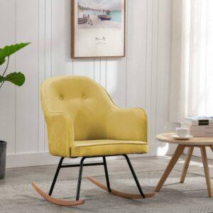 Cadeira de baloiço veludo amarelo mostarda - PORTES GRÁTIS