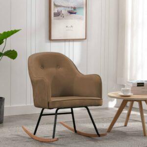 Cadeira de baloiço veludo castanho - PORTES GRÁTIS