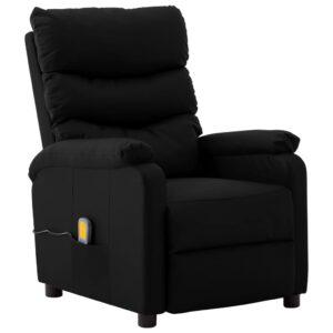 Poltrona de massagens reclinável couro artificial preto - PORTES GRÁTIS