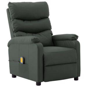 Poltrona de massagens reclinável couro artificial cinzento - PORTES GRÁTIS